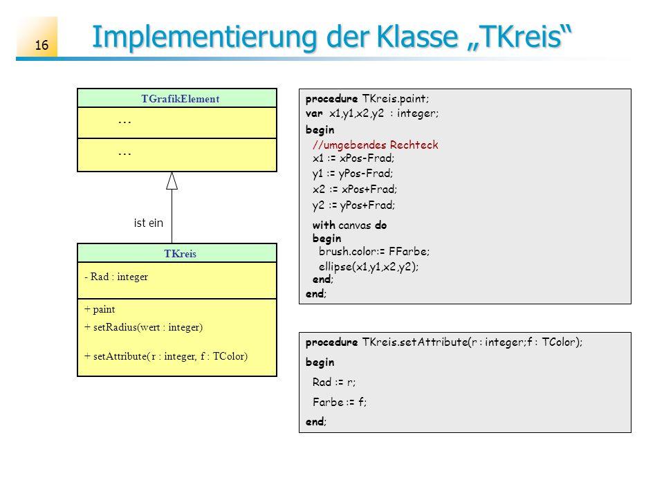 16 Implementierung der Klasse TKreis TGrafikElement... TKreis - Rad : integer + paint + setRadius(wert : integer) + setAttribute( r : integer, f : TCo