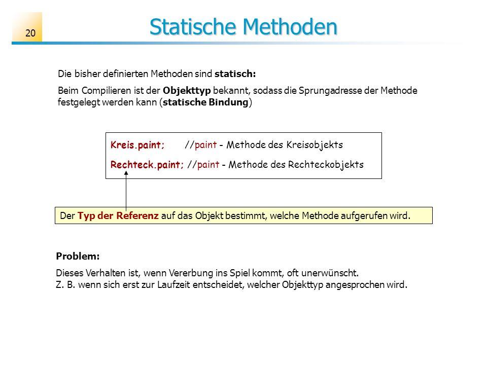 20 Statische Methoden Kreis.paint; //paint - Methode des Kreisobjekts Rechteck.paint; //paint - Methode des Rechteckobjekts Der Typ der Referenz auf das Objekt bestimmt, welche Methode aufgerufen wird.