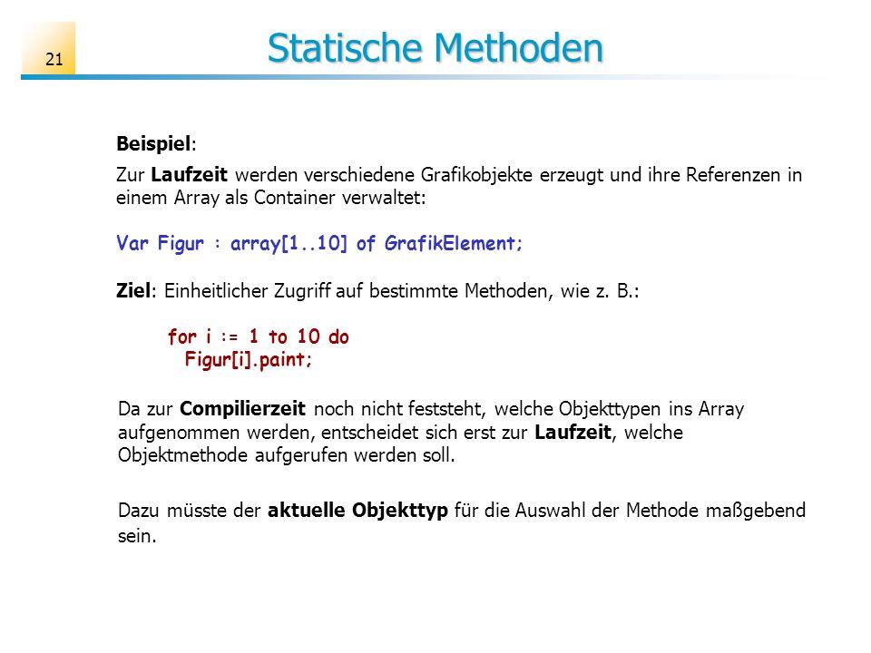 21 Statische Methoden Beispiel: Zur Laufzeit werden verschiedene Grafikobjekte erzeugt und ihre Referenzen in einem Array als Container verwaltet: Var Figur : array[1..10] of GrafikElement; Ziel: Einheitlicher Zugriff auf bestimmte Methoden, wie z.