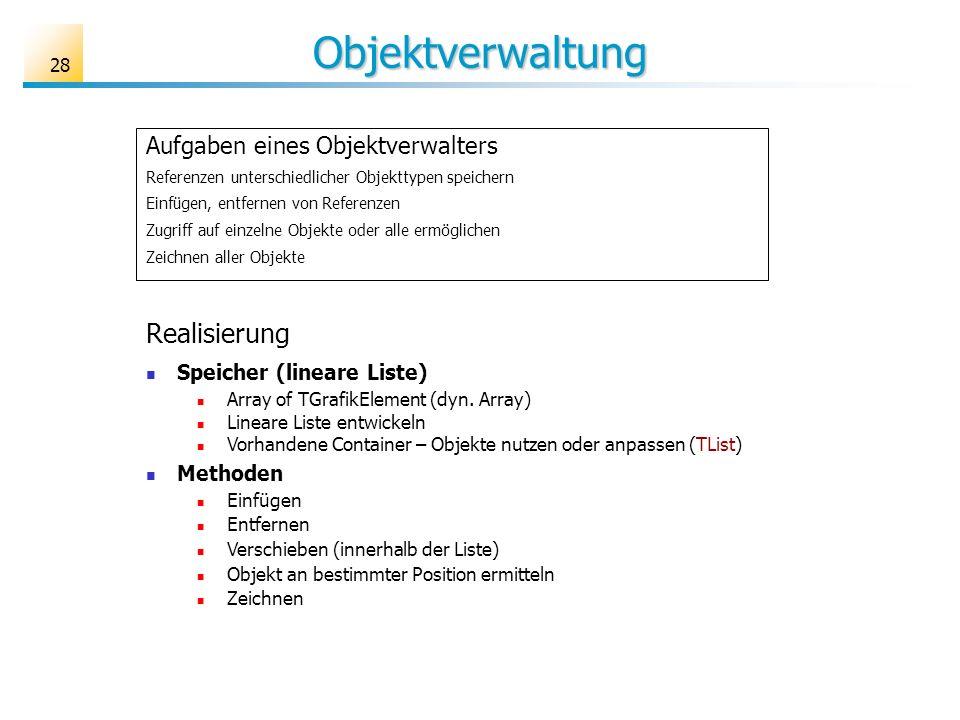 28 Objektverwaltung Aufgaben eines Objektverwalters Referenzen unterschiedlicher Objekttypen speichern Einfügen, entfernen von Referenzen Zugriff auf