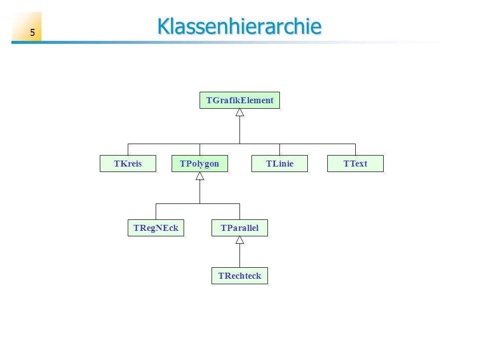 5 Klassenhierarchie TGrafikElement TKreisTPolygonTTextTLinie TRegNEck TRechteck TParallel