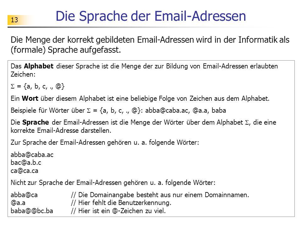 13 Die Sprache der Email-Adressen Das Alphabet dieser Sprache ist die Menge der zur Bildung von Email-Adressen erlaubten Zeichen: = {a, b, c,., @} Ein
