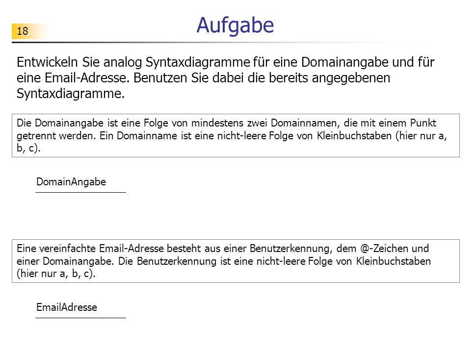 18 Aufgabe Entwickeln Sie analog Syntaxdiagramme für eine Domainangabe und für eine Email-Adresse. Benutzen Sie dabei die bereits angegebenen Syntaxdi