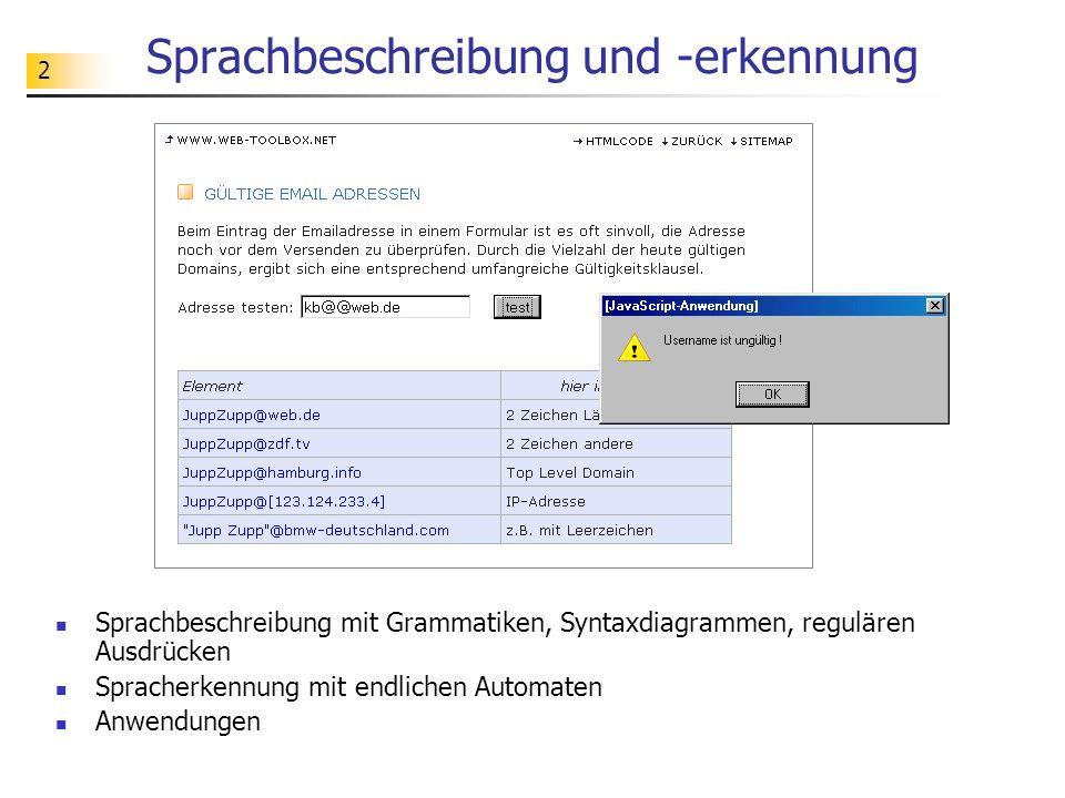 2 Sprachbeschreibung und -erkennung Sprachbeschreibung mit Grammatiken, Syntaxdiagrammen, regulären Ausdrücken Spracherkennung mit endlichen Automaten