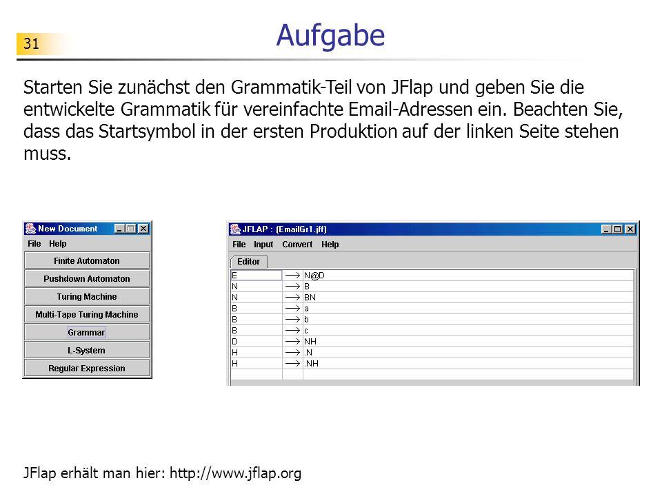 31 Aufgabe Starten Sie zunächst den Grammatik-Teil von JFlap und geben Sie die entwickelte Grammatik für vereinfachte Email-Adressen ein. Beachten Sie