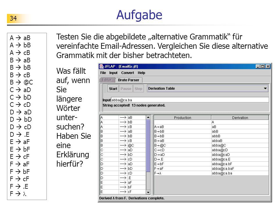 34 Aufgabe Testen Sie die abgebildete alternative Grammatik für vereinfachte Email-Adressen. Vergleichen Sie diese alternative Grammatik mit der bishe