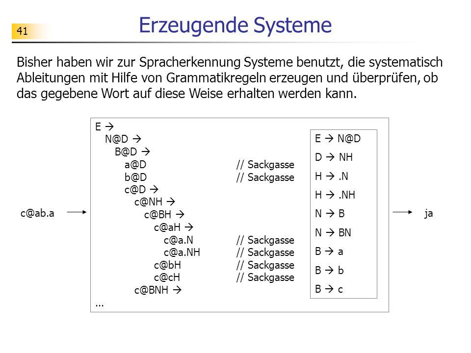 41 Erzeugende Systeme Bisher haben wir zur Spracherkennung Systeme benutzt, die systematisch Ableitungen mit Hilfe von Grammatikregeln erzeugen und üb