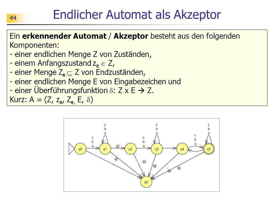 44 Endlicher Automat als Akzeptor Ein erkennender Automat / Akzeptor besteht aus den folgenden Komponenten: - einer endlichen Menge Z von Zuständen, -