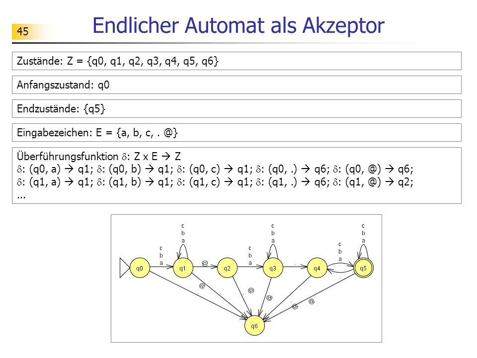 45 Endlicher Automat als Akzeptor Zustände: Z = {q0, q1, q2, q3, q4, q5, q6} Anfangszustand: q0 Endzustände: {q5} Eingabezeichen: E = {a, b, c,. @} Üb