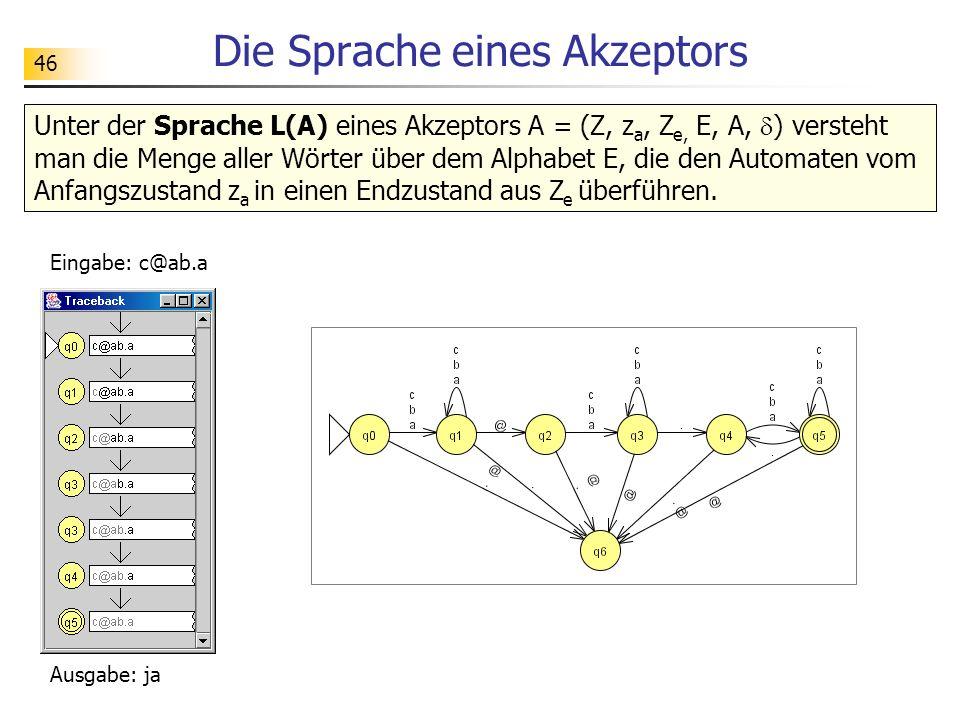 46 Unter der Sprache L(A) eines Akzeptors A = (Z, z a, Z e, E, A, ) versteht man die Menge aller Wörter über dem Alphabet E, die den Automaten vom Anf