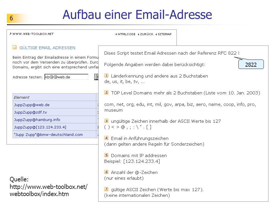 6 Aufbau einer Email-Adresse Quelle: http://www.web-toolbox.net/ webtoolbox/index.htm 2822