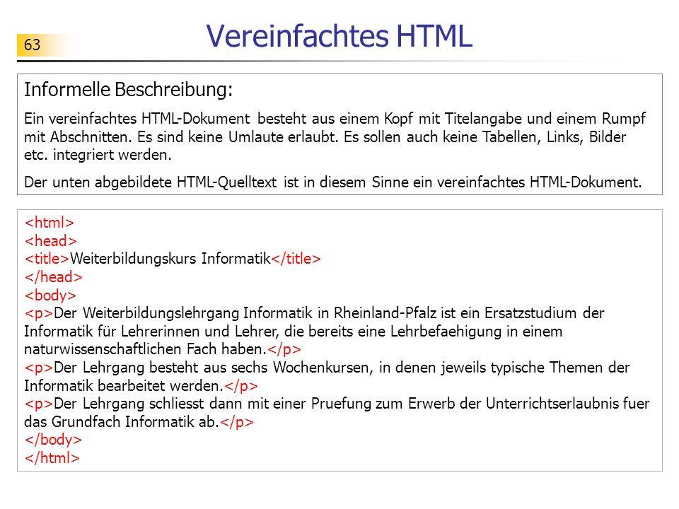 63 Vereinfachtes HTML Informelle Beschreibung: Ein vereinfachtes HTML-Dokument besteht aus einem Kopf mit Titelangabe und einem Rumpf mit Abschnitten.