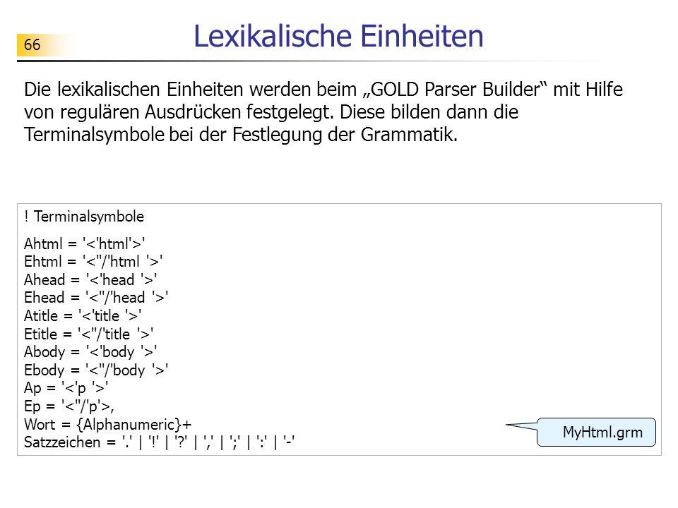 66 Lexikalische Einheiten Die lexikalischen Einheiten werden beim GOLD Parser Builder mit Hilfe von regulären Ausdrücken festgelegt. Diese bilden dann