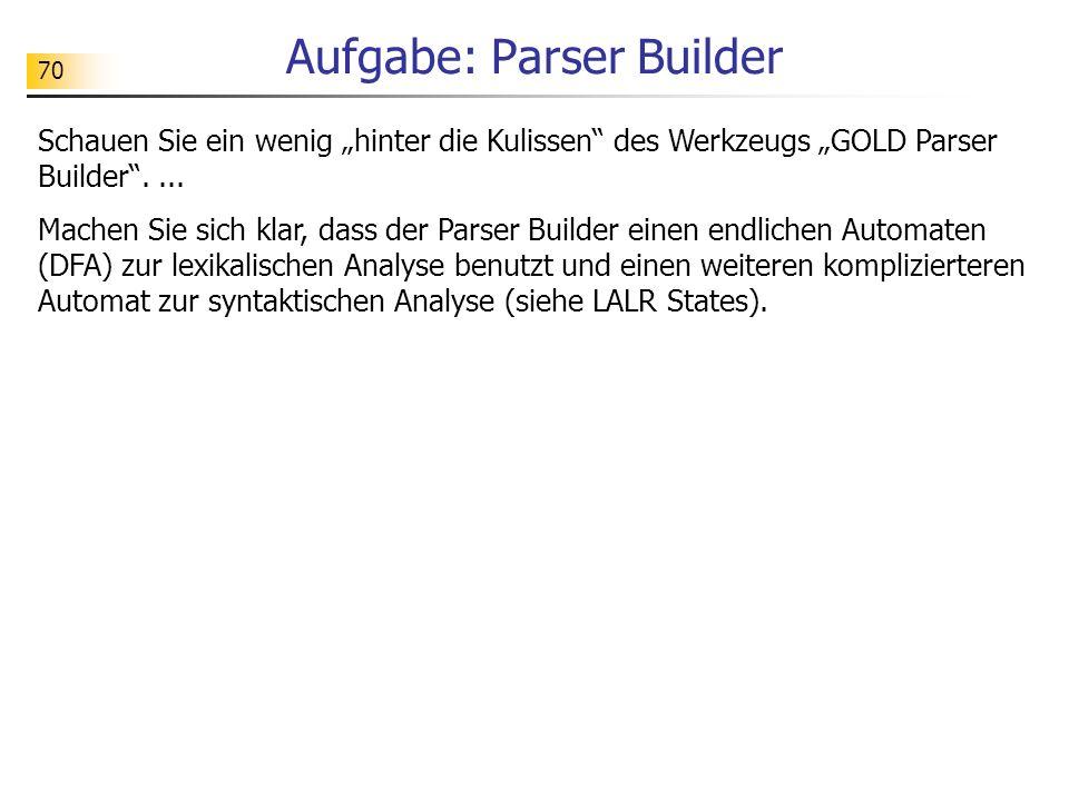 70 Aufgabe: Parser Builder Schauen Sie ein wenig hinter die Kulissen des Werkzeugs GOLD Parser Builder.... Machen Sie sich klar, dass der Parser Build