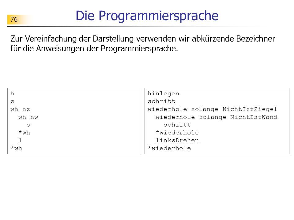 76 Die Programmiersprache Zur Vereinfachung der Darstellung verwenden wir abkürzende Bezeichner für die Anweisungen der Programmiersprache. hinlegen s