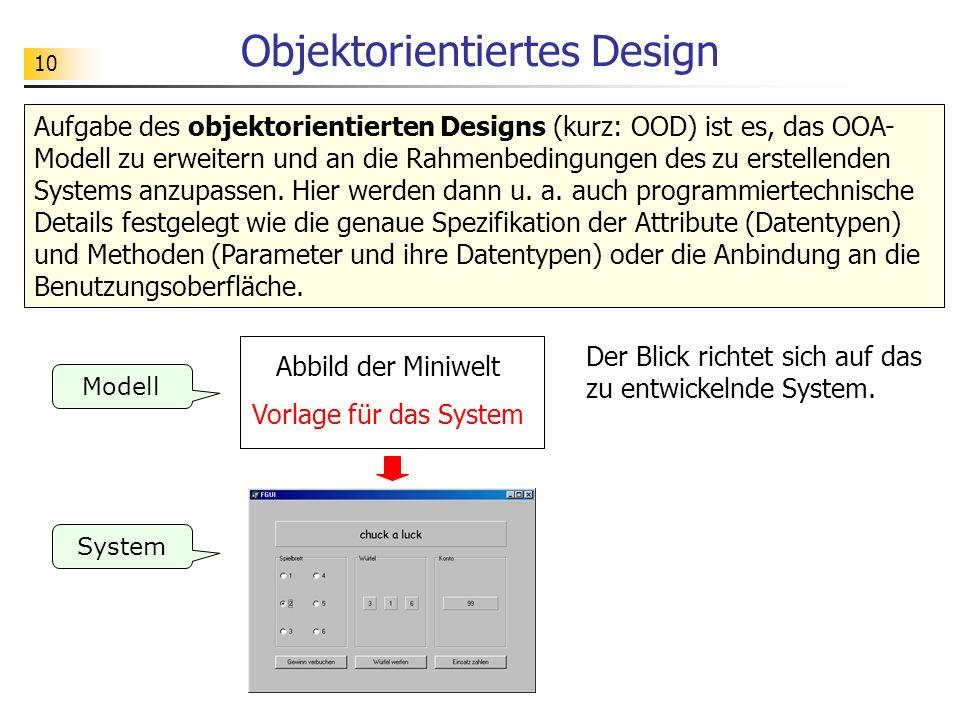 10 Objektorientiertes Design System Modell Abbild der Miniwelt Vorlage für das System Der Blick richtet sich auf das zu entwickelnde System. Aufgabe d
