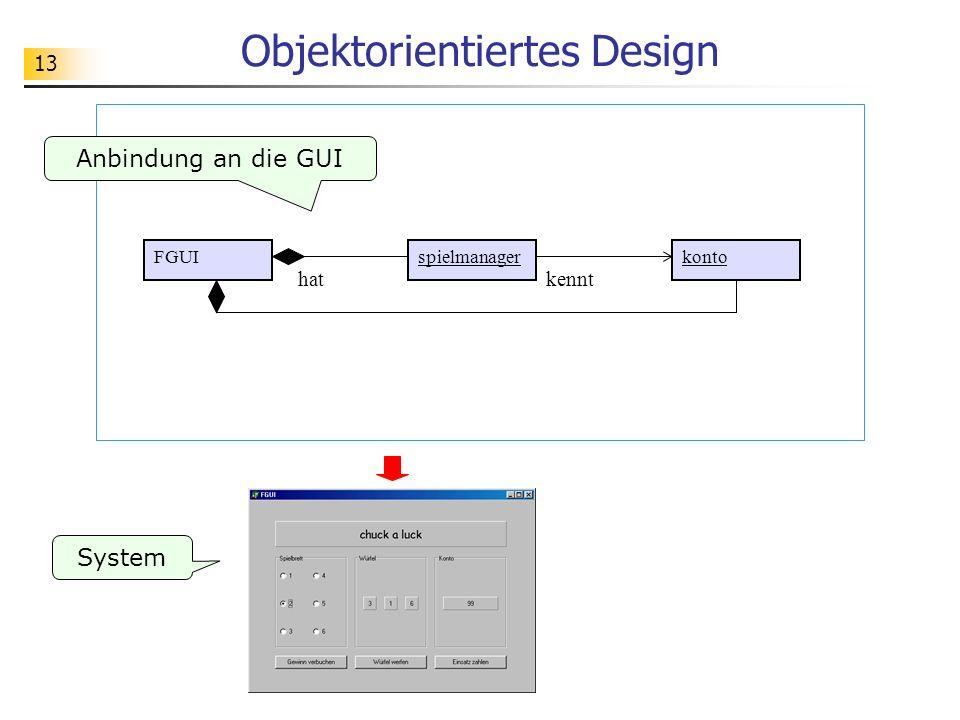 13 Objektorientiertes Design System kontospielmanagerFGUI hatkennt Anbindung an die GUI