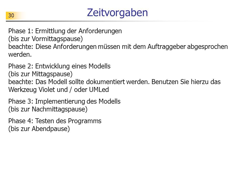 30 Zeitvorgaben Phase 1: Ermittlung der Anforderungen (bis zur Vormittagspause) beachte: Diese Anforderungen müssen mit dem Auftraggeber abgesprochen