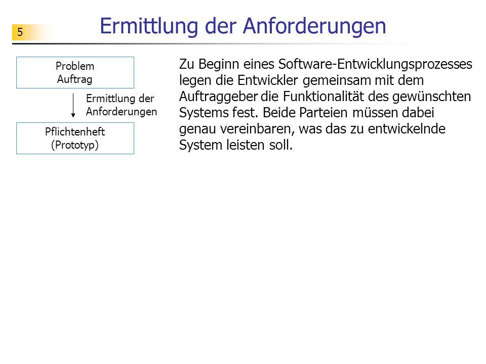 5 Ermittlung der Anforderungen Zu Beginn eines Software-Entwicklungsprozesses legen die Entwickler gemeinsam mit dem Auftraggeber die Funktionalität d