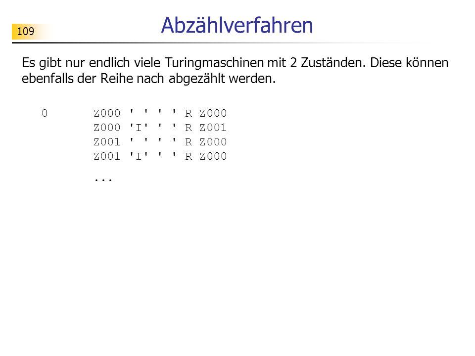 109 Abzählverfahren Es gibt nur endlich viele Turingmaschinen mit 2 Zuständen.