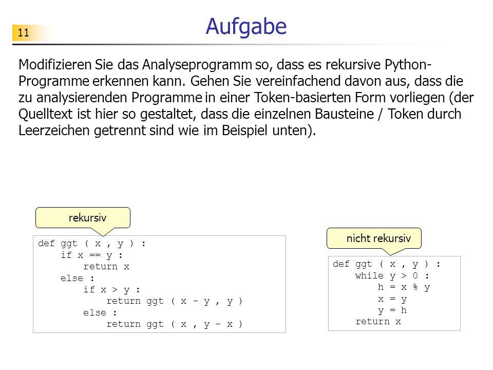 11 Aufgabe Modifizieren Sie das Analyseprogramm so, dass es rekursive Python- Programme erkennen kann.