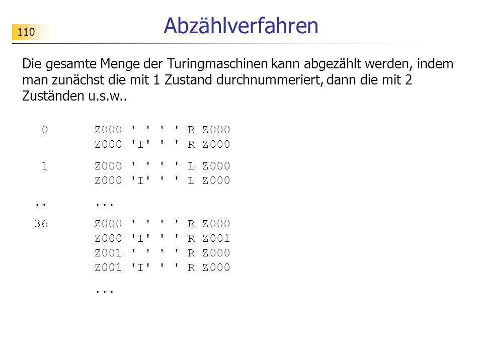 110 Abzählverfahren Die gesamte Menge der Turingmaschinen kann abgezählt werden, indem man zunächst die mit 1 Zustand durchnummeriert, dann die mit 2 Zuständen u.s.w..