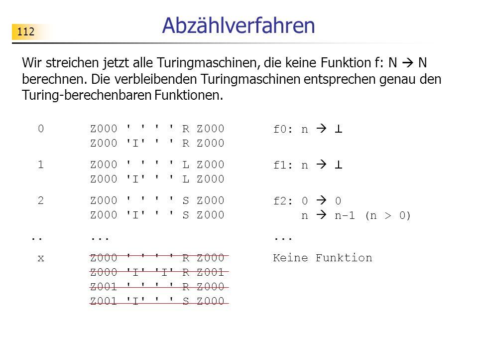112 Abzählverfahren Wir streichen jetzt alle Turingmaschinen, die keine Funktion f: N N berechnen.