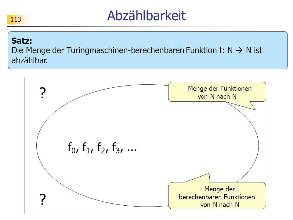 113 Abzählbarkeit Satz: Die Menge der Turingmaschinen-berechenbaren Funktion f: N N ist abzählbar.