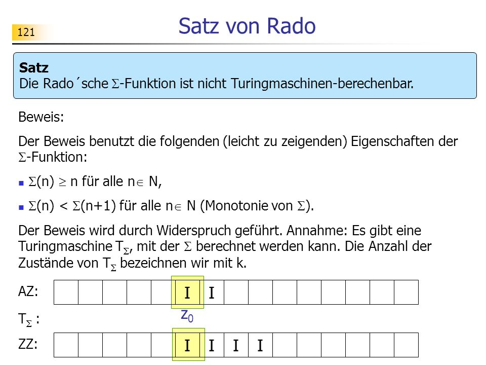 121 Satz von Rado Satz Die Rado´sche -Funktion ist nicht Turingmaschinen-berechenbar.
