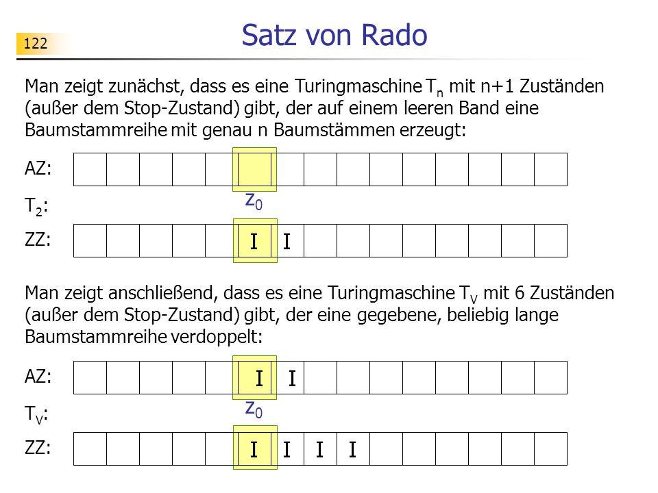 122 Satz von Rado Man zeigt zunächst, dass es eine Turingmaschine T n mit n+1 Zuständen (außer dem Stop-Zustand) gibt, der auf einem leeren Band eine Baumstammreihe mit genau n Baumstämmen erzeugt: AZ: ZZ: I I z0z0 T2:T2: Man zeigt anschließend, dass es eine Turingmaschine T V mit 6 Zuständen (außer dem Stop-Zustand) gibt, der eine gegebene, beliebig lange Baumstammreihe verdoppelt: AZ: ZZ: I I z0z0 TV:TV: II II