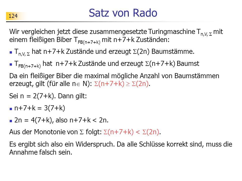 124 Satz von Rado Wir vergleichen jetzt diese zusammengesetzte Turingmaschine T n,V, mit einem fleißigen Biber T FB(n+7+k) mit n+7+k Zuständen: T n,V, hat n+7+k Zustände und erzeugt (2n) Baumstämme.
