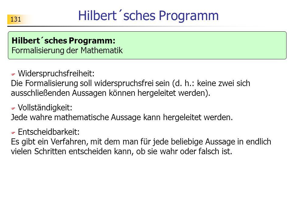 131 Hilbert´sches Programm Widerspruchsfreiheit: Die Formalisierung soll widerspruchsfrei sein (d.