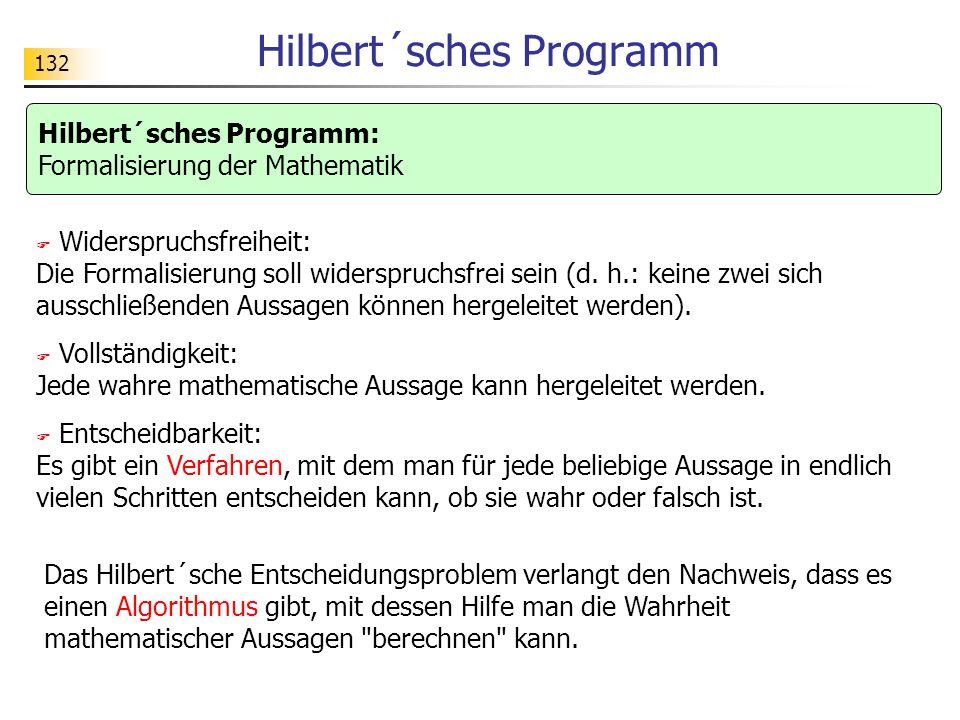 132 Hilbert´sches Programm Widerspruchsfreiheit: Die Formalisierung soll widerspruchsfrei sein (d.