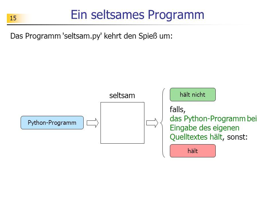 15 Ein seltsames Programm Das Programm seltsam.py kehrt den Spieß um: falls, das Python-Programm bei Eingabe des eigenen Quelltextes hält, sonst: seltsam hält nicht hält Python-Programm