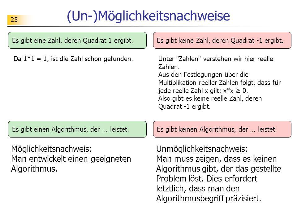 25 (Un-)Möglichkeitsnachweise Möglichkeitsnachweis: Man entwickelt einen geeigneten Algorithmus.
