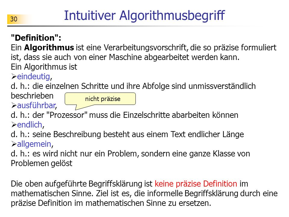 30 Intuitiver Algorithmusbegriff