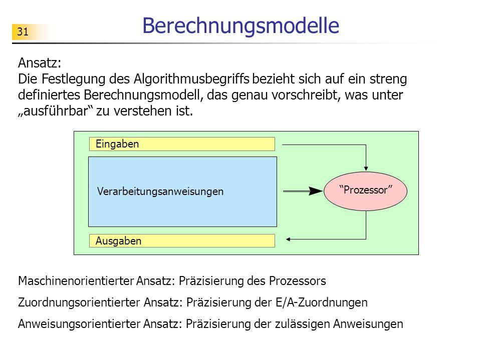 31 Berechnungsmodelle Ansatz: Die Festlegung des Algorithmusbegriffs bezieht sich auf ein streng definiertes Berechnungsmodell, das genau vorschreibt, was unter ausführbar zu verstehen ist.