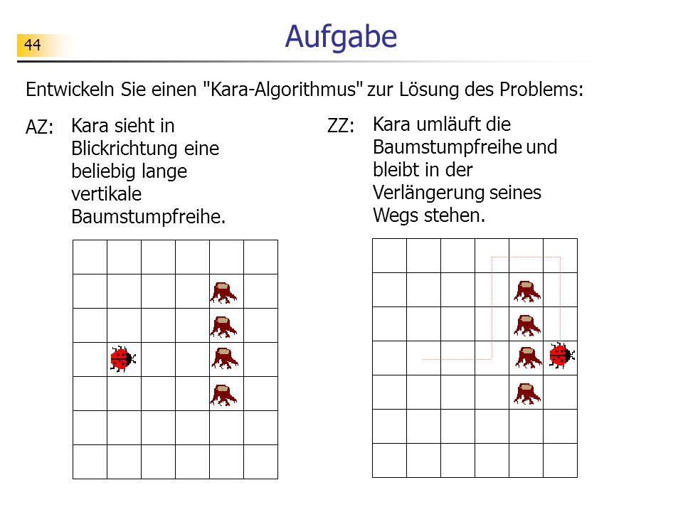 44 Aufgabe Entwickeln Sie einen Kara-Algorithmus zur Lösung des Problems: AZ: Kara sieht in Blickrichtung eine beliebig lange vertikale Baumstumpfreihe.
