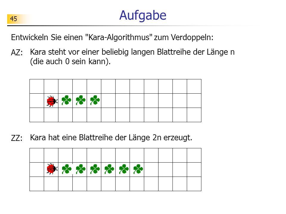 45 Aufgabe Entwickeln Sie einen Kara-Algorithmus zum Verdoppeln: AZ: Kara steht vor einer beliebig langen Blattreihe der Länge n (die auch 0 sein kann).