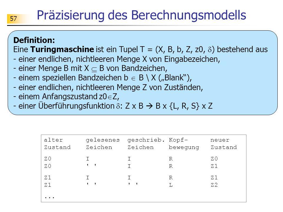 57 Präzisierung des Berechnungsmodells Definition: Eine Turingmaschine ist ein Tupel T = (X, B, b, Z, z0, ) bestehend aus - einer endlichen, nichtleeren Menge X von Eingabezeichen, - einer Menge B mit X B von Bandzeichen, - einem speziellen Bandzeichen b B \ X (Blank), - einer endlichen, nichtleeren Menge Z von Zuständen, - einem Anfangszustand z0 Z, - einer Überführungsfunktion : Z x B B x {L, R, S} x Z alter gelesenes geschrieb.