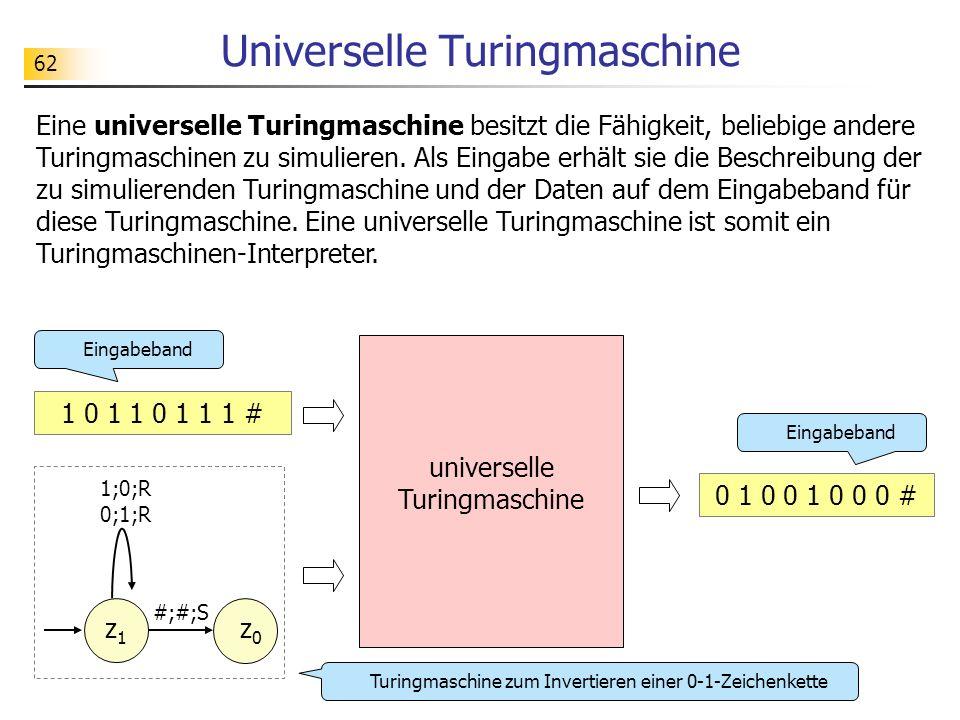 62 Universelle Turingmaschine Eine universelle Turingmaschine besitzt die Fähigkeit, beliebige andere Turingmaschinen zu simulieren.