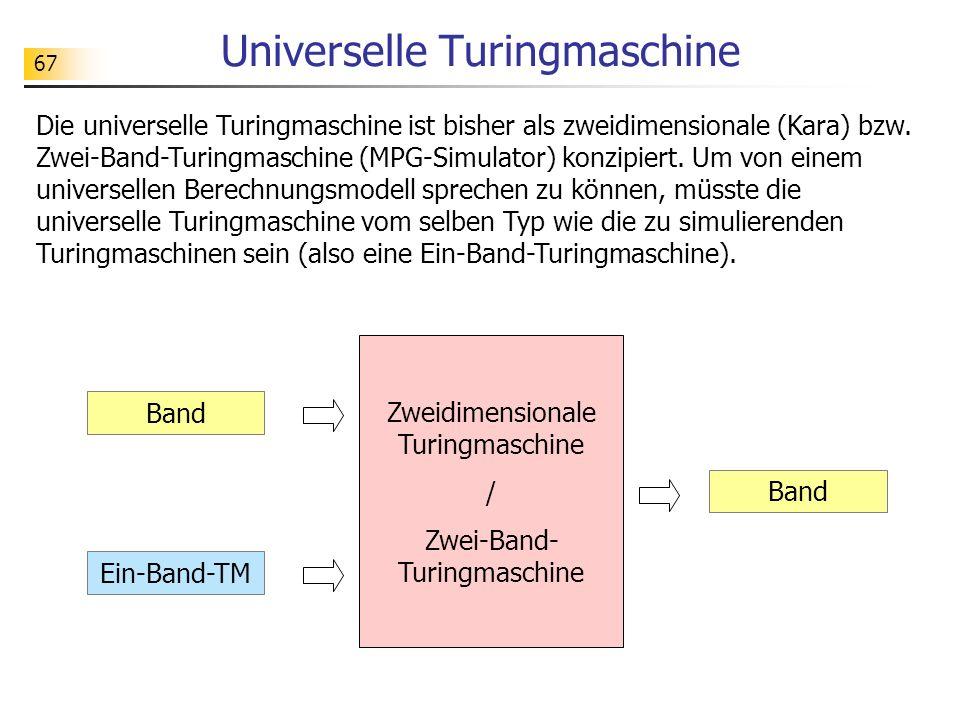 67 Universelle Turingmaschine Band Ein-Band-TM Band Die universelle Turingmaschine ist bisher als zweidimensionale (Kara) bzw.
