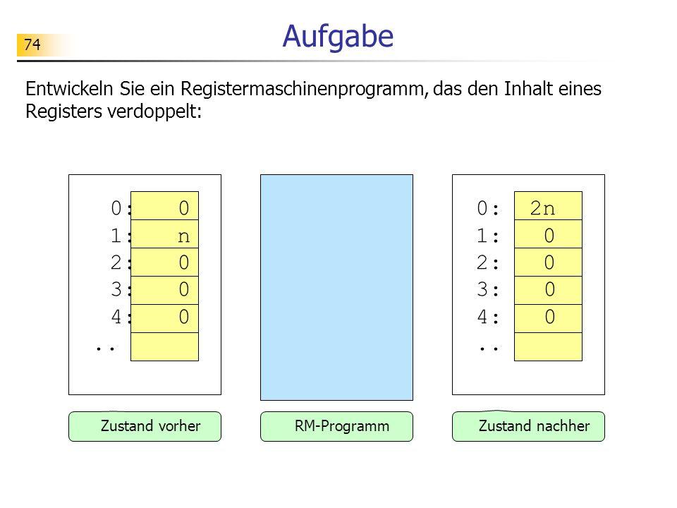 74 Aufgabe Entwickeln Sie ein Registermaschinenprogramm, das den Inhalt eines Registers verdoppelt: 0:0 1:n 2:0 3:0 4:0..