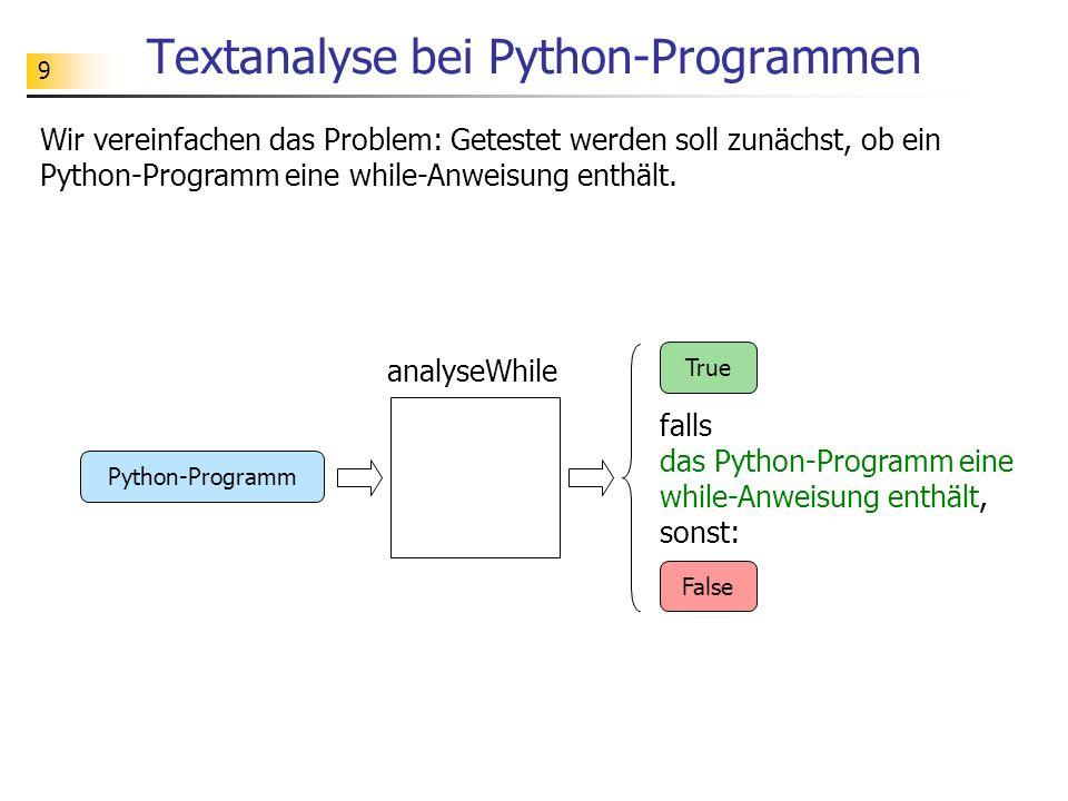 10 Aufgabe Testen Sie das folgende Analyseprogramm (siehe analyseWhile.py ).