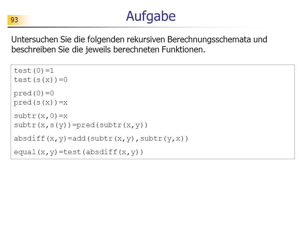 93 Aufgabe Untersuchen Sie die folgenden rekursiven Berechnungsschemata und beschreiben Sie die jeweils berechneten Funktionen.