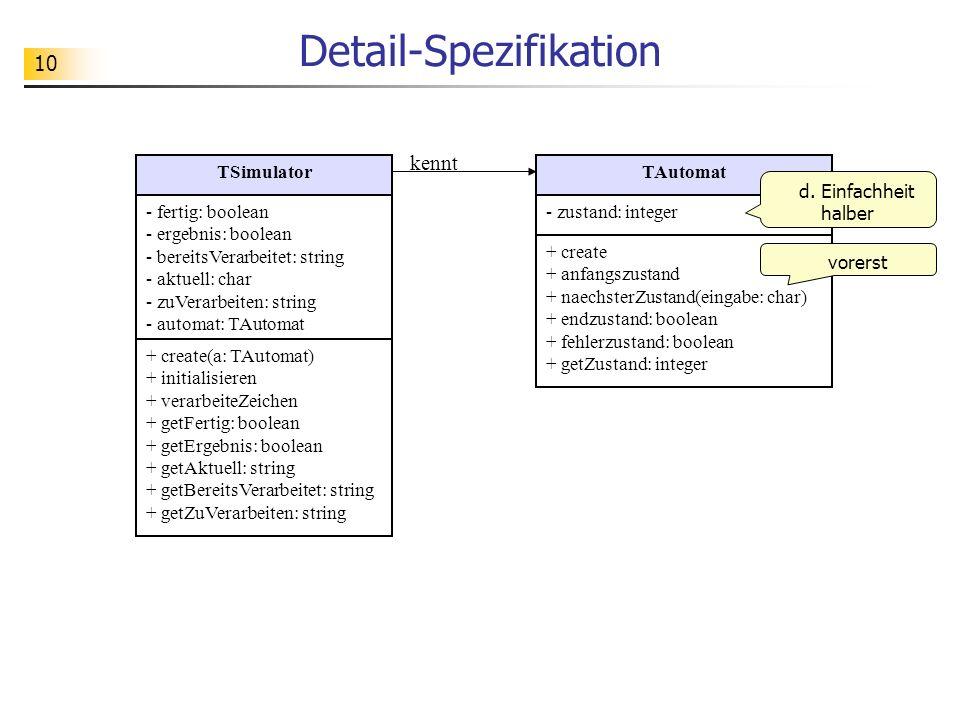 10 Detail-Spezifikation TAutomat - zustand: integer + create + anfangszustand + naechsterZustand(eingabe: char) + endzustand: boolean + fehlerzustand: