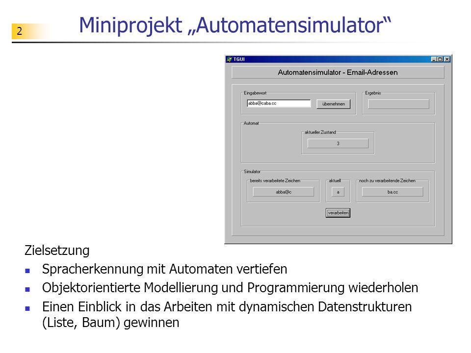 2 Miniprojekt Automatensimulator Zielsetzung Spracherkennung mit Automaten vertiefen Objektorientierte Modellierung und Programmierung wiederholen Ein
