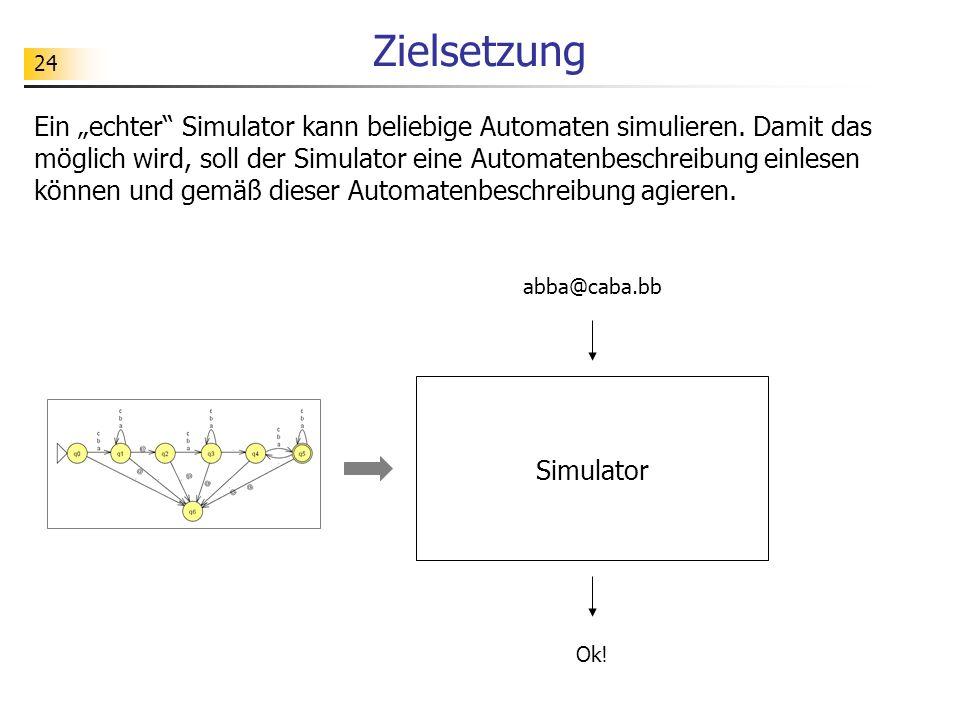 24 Zielsetzung Ein echter Simulator kann beliebige Automaten simulieren. Damit das möglich wird, soll der Simulator eine Automatenbeschreibung einlese