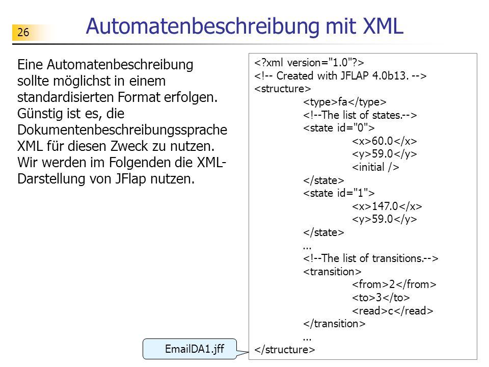 26 Automatenbeschreibung mit XML Eine Automatenbeschreibung sollte möglichst in einem standardisierten Format erfolgen. Günstig ist es, die Dokumenten