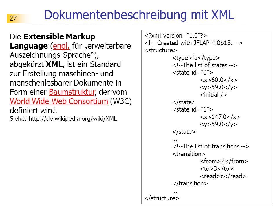 27 Dokumentenbeschreibung mit XML fa 60.0 59.0 147.0 59.0... 2 3 c... Die Extensible Markup Language (engl. für erweiterbare Auszeichnungs-Sprache), a